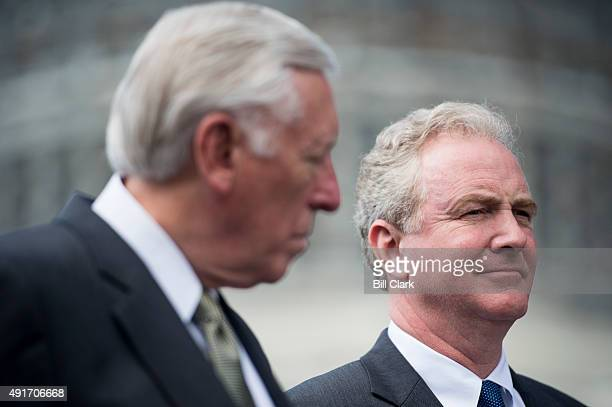 House Minority Whip Steny Hoyer DMd left and Rep Chris Van Hollen DMd participate in the NDD United Rally for a Stronger America outside of the...