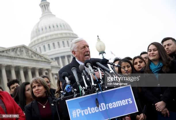 House Minority Whip Steny Hoyer holds a news conference with DREAMers from nearly 20 states outside the US Capitol January 10 2018 in Washington DC...