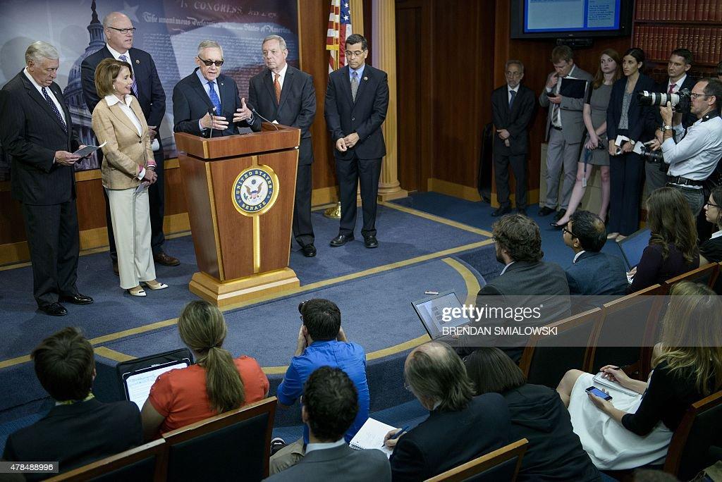 House Minority Whip Steny Hoyer (D-MD), House Minority Leader Nancy Pelosi (D-CA), Rep. Rep. Joseph Crowley (D-NY), Senate Minority Leader Senator Harry Reid (D-NV), Senate Republican Whip Senator Richard Durbin (D-IL) and Rep. Xavier Becerra (D-CA) participate in a press conference on Capitol Hill June 25, 2015 in Washington, DC.