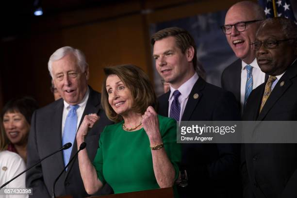 House Minority Whip Steny Hoyer House Minority Leader Nancy Pelosi Rep Eric Swalwell Rep Joe Crowley and Rep James Clyburn hold a news conference in...