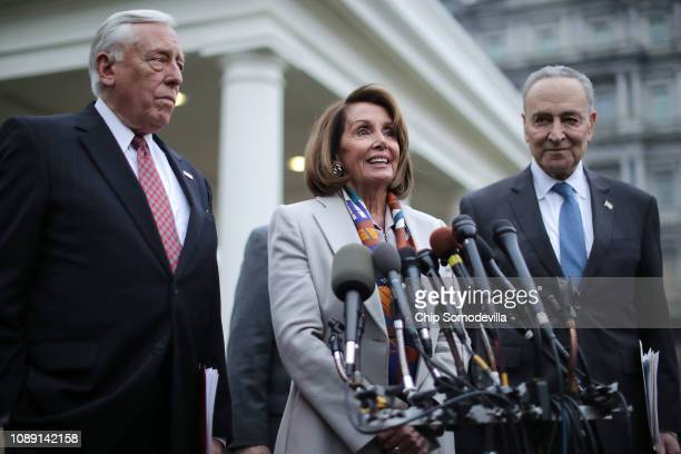 House Minority Whip Steny Hoyer House Speaker designate Nancy Pelosi and Senate Minority Leader Charles Schumer talk to journalists following a...
