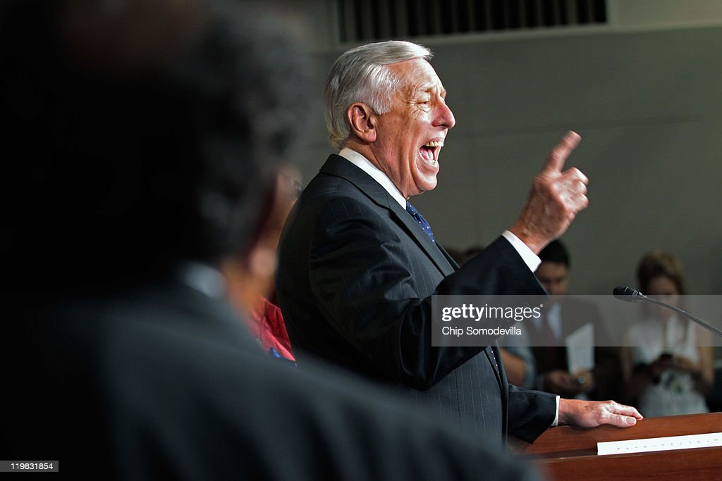 House Minority Whip Steny Hoyer (D-MD) speaks during a news conference with members of the House Democratic caucus July 25, 2011 in Washington, DC. The lawmakers accused their Republicans colleagues of adding what Democrats call 'job killing' proposals as part of the ongoing budget and debt ceiling negotiations.