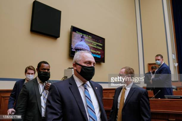 House Minority Whip Steve Scalise, a Republican from Louisiana, center, departs from a Select Subcommittee On Coronavirus Crisis hearing in...