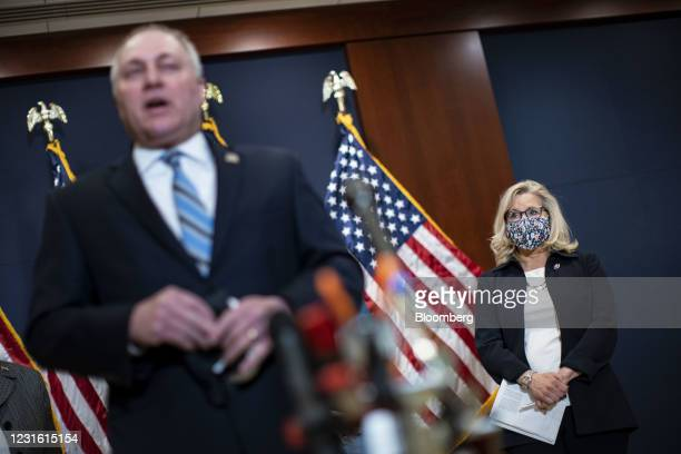 House Minority Whip Steve Scalise, a Republican from Louisiana, left, speaks while Representative Liz Cheney, a Republican from Wyoming, listens...
