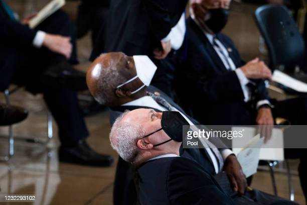 House Minority Whip Steve Scalise and House Majority Whip Jim Clyburn , center, attend the service for U.S. Capitol Officer William Evans, as his...