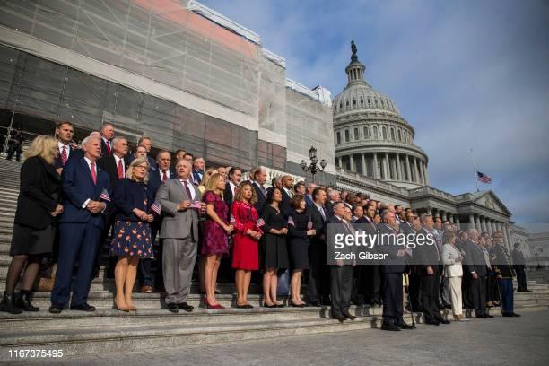 House Minority Whip Steve Scalise , House Minority Leader Kevin McCarthy, House Speaker Nancy Pelosi , and House Majority Leader Steny Hoyer gather...