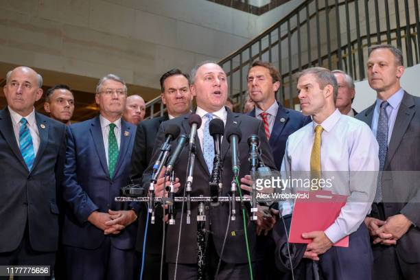House Minority Whip Steve Scalise speaks during a press conference alongside House Republicans on Capitol Hill on October 23 2019 in Washington DC...