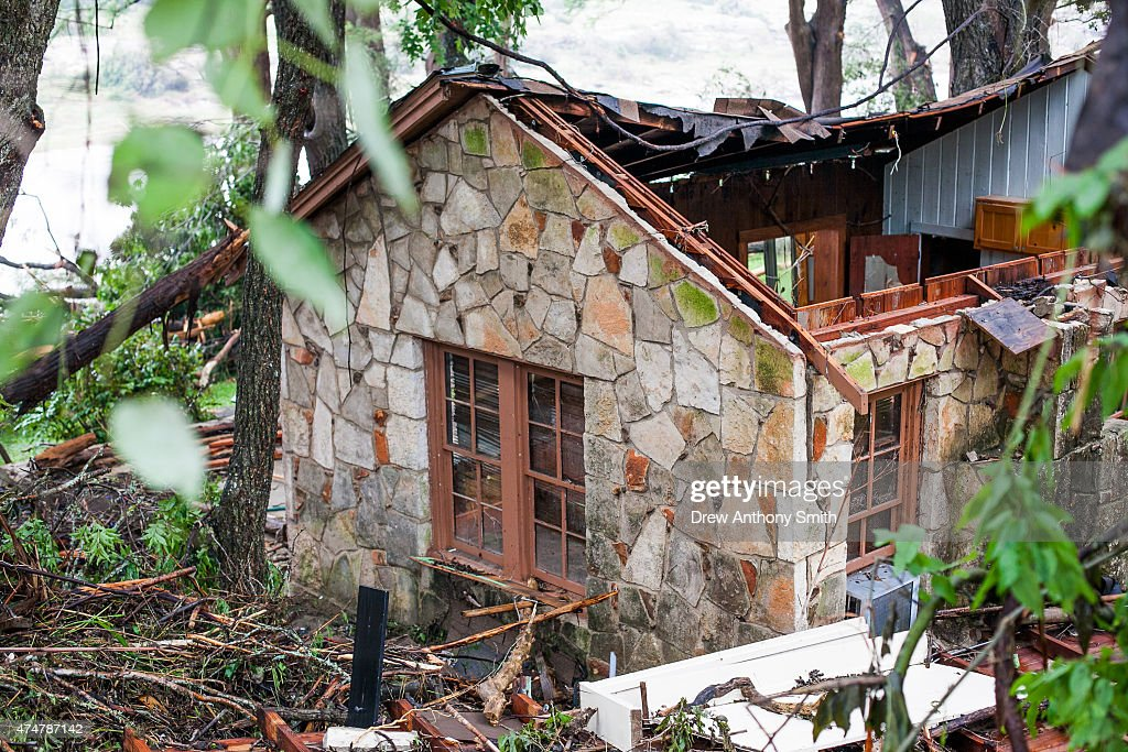 A house near the Blanco River sustained heavy damage May 26, 2015 in Wimberley, Texas. Central Texas has been hit with severe weather, including catastrophic flooding and tornadoes over the past several days.