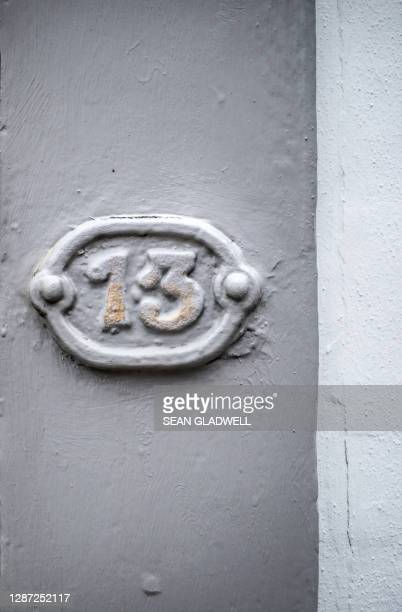 house number 13 - bad luck stock pictures, royalty-free photos & images