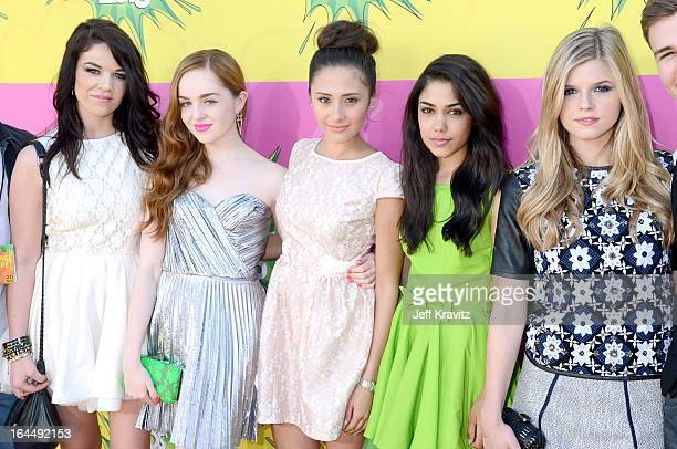 'House of Anubis' cast members Jade Ramsey Louisa ConnollyBurnham Klariza Clayton Tasie Lawrence and Ana MulvoyTen arrives at Nickelodeon's 26th...