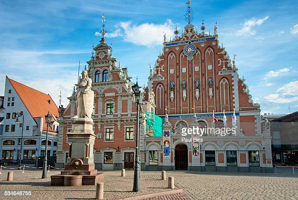 House of Blackheads and St Roland statue, in Riga