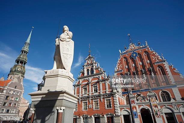 house of blackheads on old town square in riga - house of blackheads stock photos and pictures
