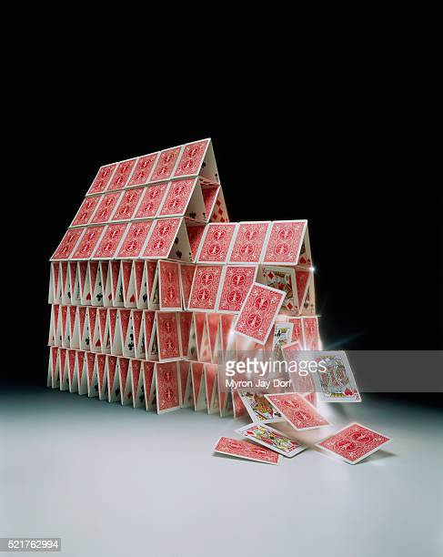 house of cards falling down - collapsing stock pictures, royalty-free photos & images
