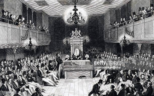 House of Commons in session in the Houses of Parliament which were destroyed by fire in 1834 Engraving