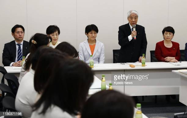 House of Councillors lawmaker Hidehisa Otsuji speaks in Tokyo on March 14 during a meeting of a cross-party lawmakers group, which he leads, tasked...
