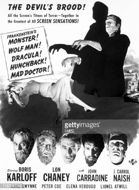 House Of Frankenstein, poster, poster; top, left to right, Elena Verdugo, Glenn Strange; bottom, left to right: Boris Karloff, Lon Chaney Jr, John...
