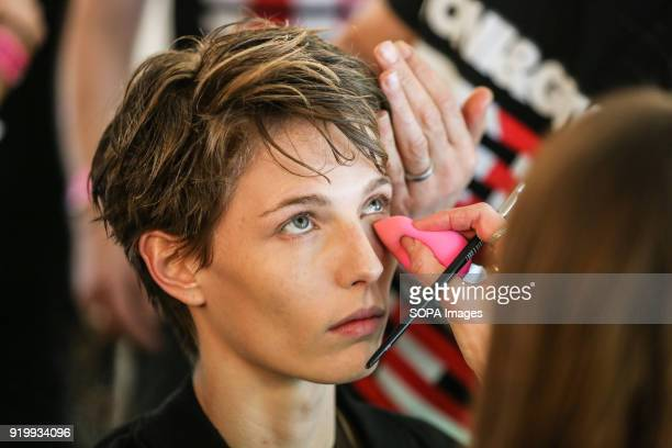 House of Holland's Backstage LFW February 2018 A model seen on the backstage before the House of Holland's show during London Fashion Week February...