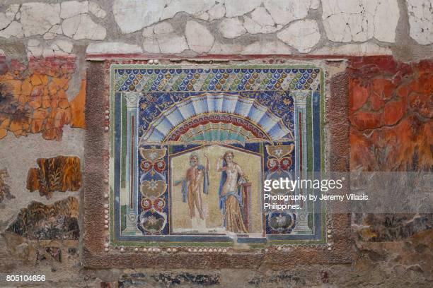 house of neptune and amphitrite, ercolano, herculaneum, italy - ヘルクラネウム遺跡 ストックフォトと画像