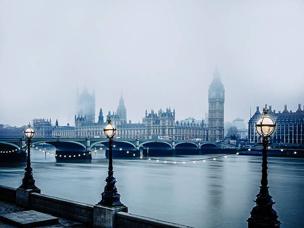 House of Parliament in foggy weather