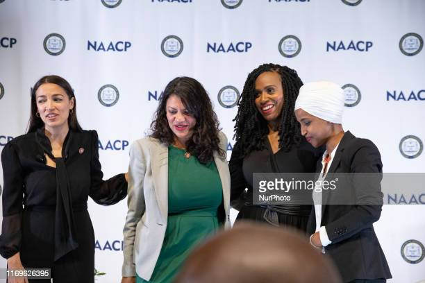 House of Representatives: Alexandria Ocasio-Cortez, Rashida Tlaib, Ayanna Pressley, and Ilhan Omar, after the NAACP town hall during the...
