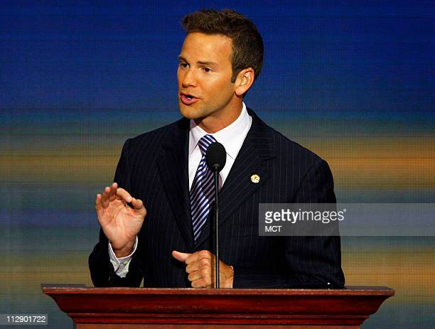 House of Representatives candidate Aaron Schock addresses Republican National Convention at the Xcel Energy Center in St Paul Minnesota Thursday...