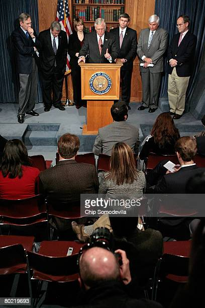 S House of Representatives Majority Leader Steny Hoyer speaks during a news conference along with members of the Congressional Blue Dog Coalition Rep...