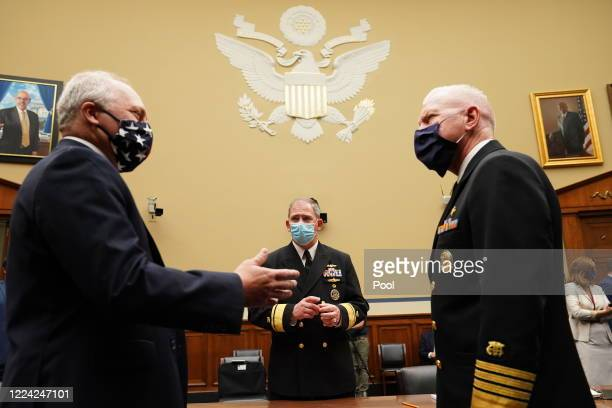 S House of Representatives Minority Whip Steve Scalise talks with Pentagon Supply Chain Stabilization Task Force Vice Director of Logistics Rear...