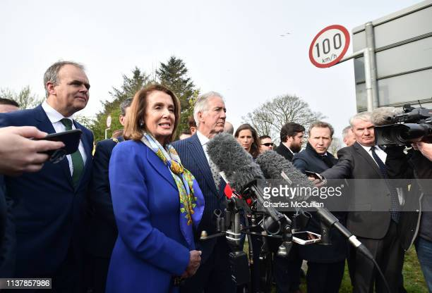 House of Representatives Speaker Nancy Pelosi holds a press conference with US Congressman Richard Neal as they visit the border between the United...
