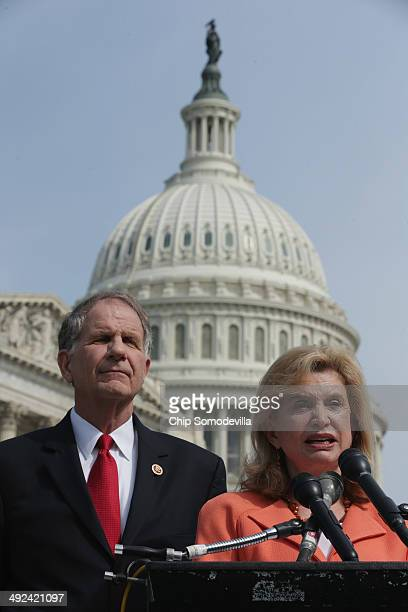 S House of Representatives Victims' Rights Caucus Chairman Rep Ted Poe and Rep Carolyn Maloney talk about the antihuman trafficking legislation they...