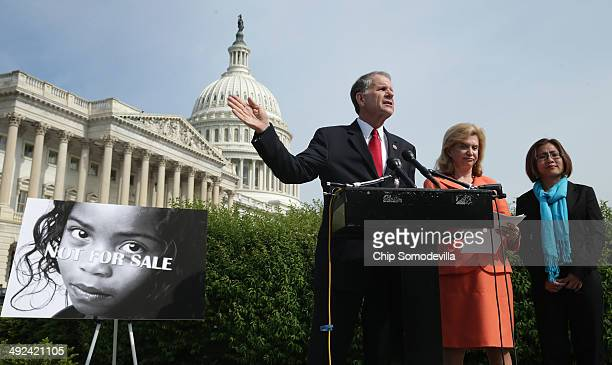 S House of Representatives Victims' Rights Caucus Chairman Rep Ted Poe and Rep Carolyn Maloney hold a news conference to discuss human trafficking...