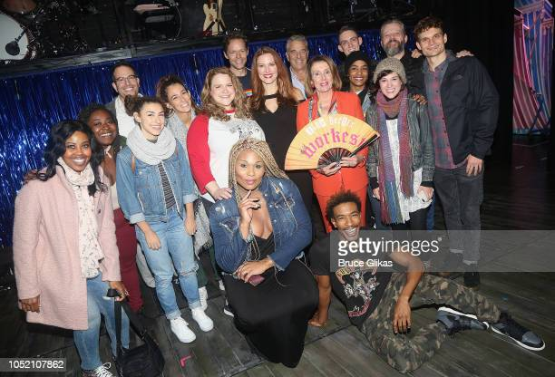 US House of Representatves Leader Nancy Pelosi poses with the cast backstage at the hit musical based on 'The GoGo's' songs 'Head Over Heels' on...