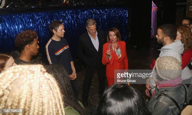 US House of Representatves Leader Nancy Pelosi speaks with the cast backstage at the hit musical based on 'The GoGo's' songs 'Head Over Heels' on...
