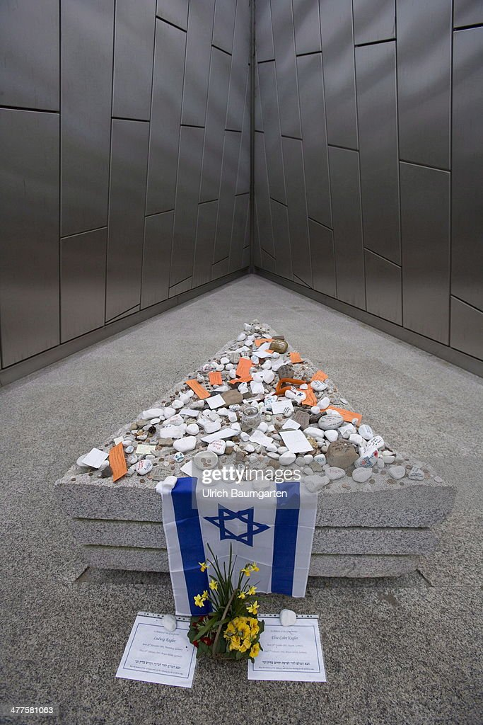 House of Silence in the Memorial Concentration Camp Bergen-Belsen. Memorial stone with Israeli flag, on March 05, 2014 in Bergen-Belsen, Germany.
