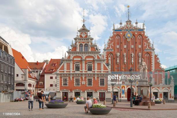 house of the blackheads in riga - blackheads stock photos and pictures