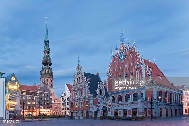 house of the blackheads, riga - house of blackheads stock photos and pictures