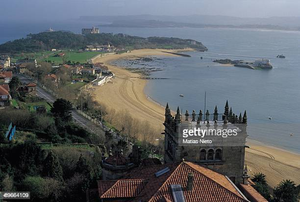 House of the family Botin Santander Cantabria Aerial view of the estate of the family Botin important dynasty of bankers of Cantabrian origin and one...