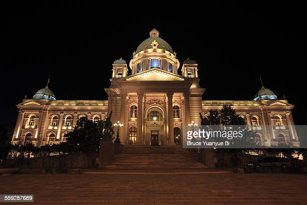 house of the national assembly - serbia stock pictures, royalty-free photos & images