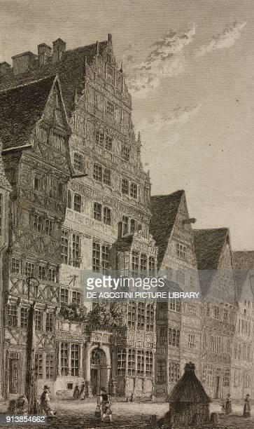 House of the philosopher Gottfried Wilhelm von Leibniz, Hannover, Germany, engraving by Lemaitre from Etats de la Confederation Germanique, by Le...