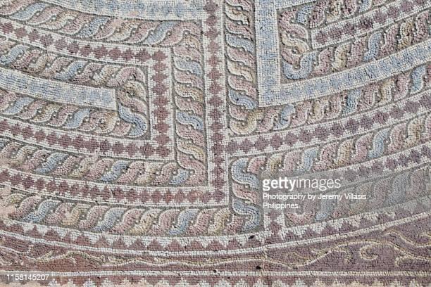 house of theseus mosaic, paphos archaeological park - パフォス考古学公園 ストックフォトと画像