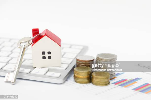 House on calculator,House and money, Mortgage Calculator on white background,Home concept,selling home