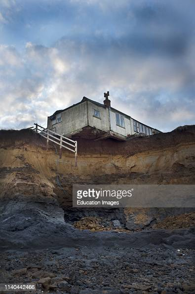 House on edge of cliff after erosion from Storm damage, North Sea... News  Photo - Getty Images