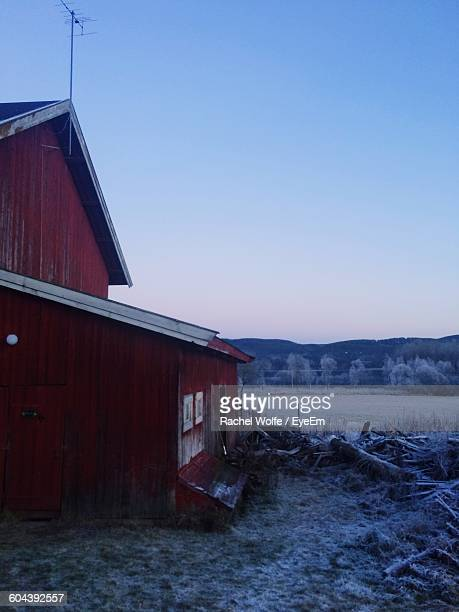 house on field against clear sky - rachel wolfe stock pictures, royalty-free photos & images