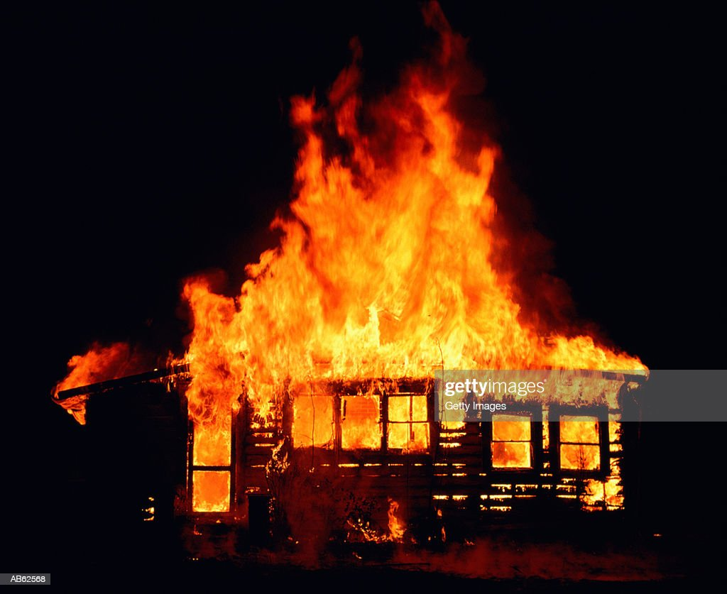 Beautiful House On Fire At Night : Stock Photo