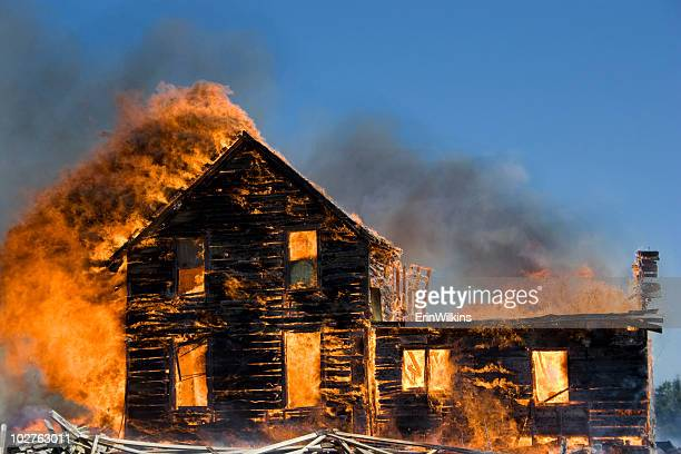 house on fire - burning stock pictures, royalty-free photos & images