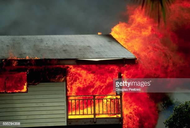 house on fire - kalapana stock pictures, royalty-free photos & images