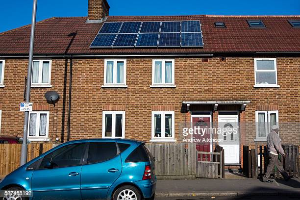 A house on Forest Road Walthamstow with newly installed photo voltaic panels London UK