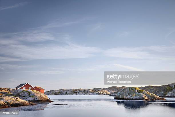 house on sea, skarhamn sweden - michael robinson stock pictures, royalty-free photos & images