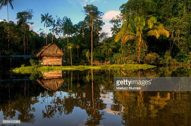 House on shore of Amazon river reflections
