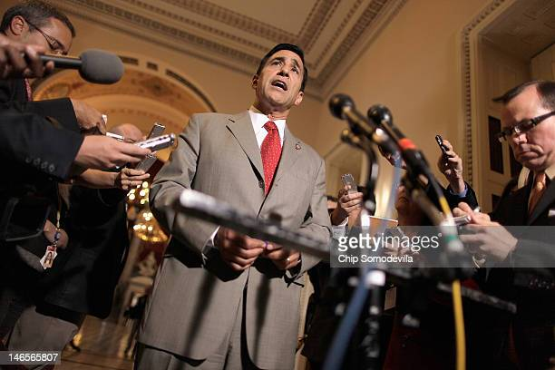 House Oversight and Government Reform Committee Chairman Darrell Issa talks to reporters after meeting with Attorney General Eric Holder in the US...