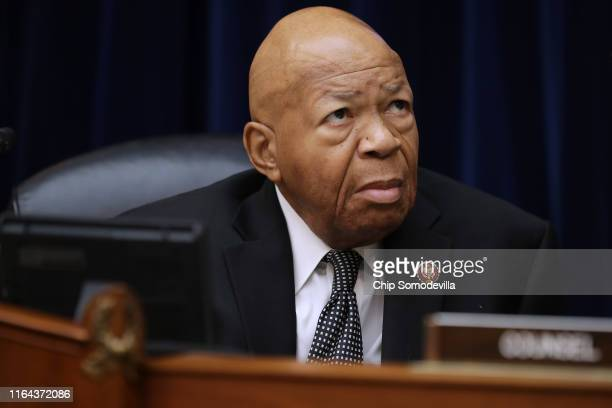 House Oversight and Government Reform Committee Chairman Elijah Cummings prepares for a hearing on drug pricing in the Rayburn House Office building...